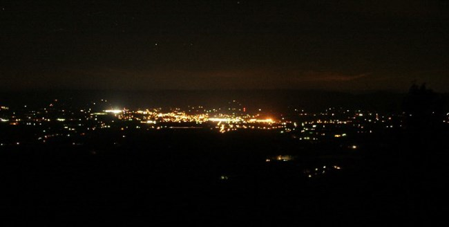 The nighttime lights of Luray, Va as seen from the elevation of Shenandoah National Park.