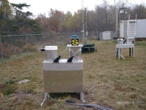 Precipitation collector at the Big Meadows air quality monitoring site.