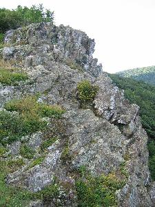 Greenstone cliff at Crescent Rock