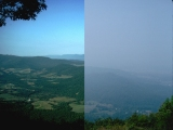 Split picture showing a good air quality day on the left and a poor air quality day on the right.