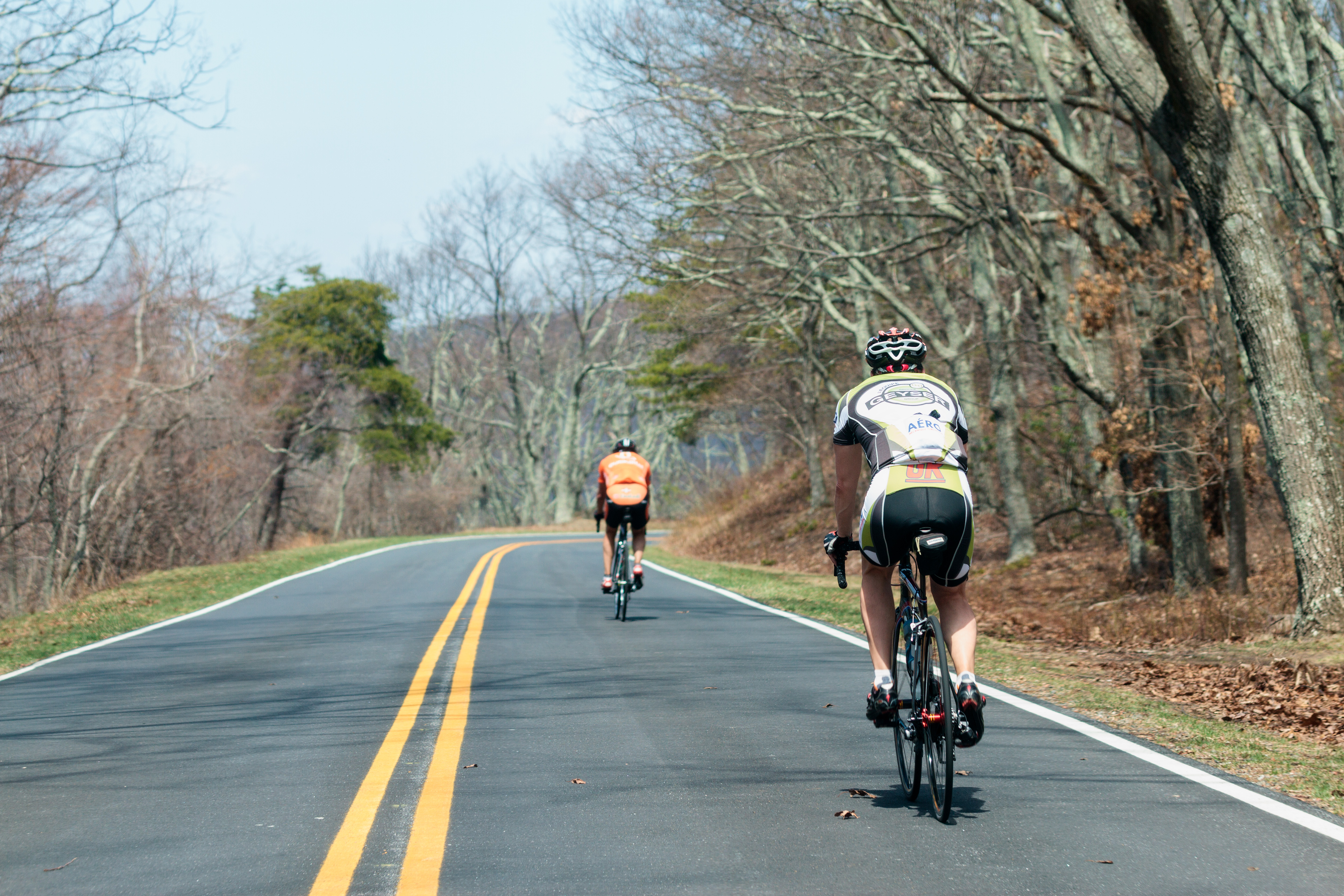Two bicyclists navigate the curves of Skyline Drive