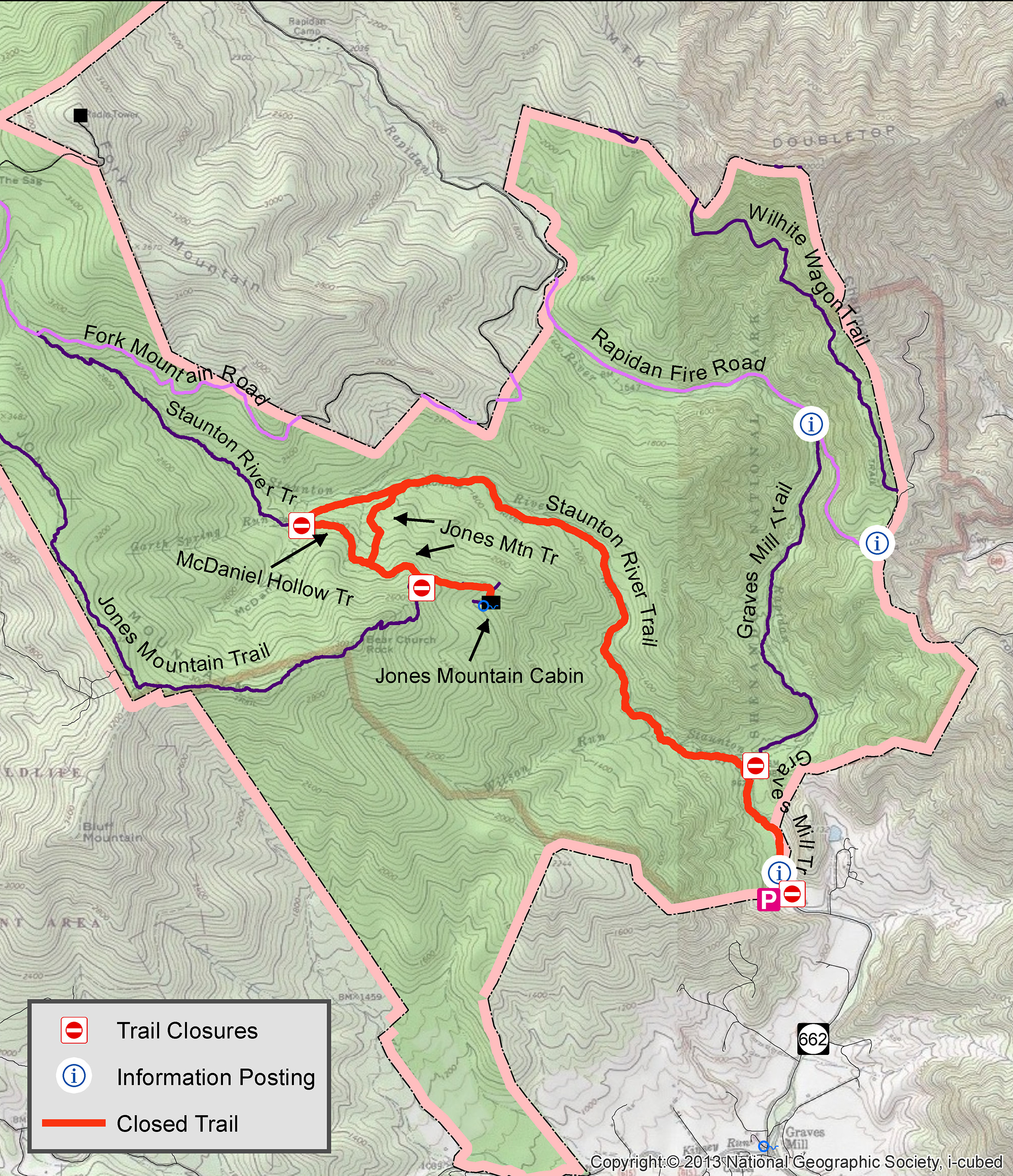 A map of closed trails near Jones River Cabin.
