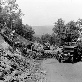 Civilian Conservation Corps workers clear a bank during the construction of Skyline Drive.