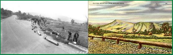 Old Rag View Overlook; under construction and finished in a hand colored postcard.