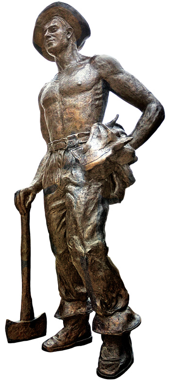"""Iron Mike,"" a bronze statue depicting a CCC boy, stands in front of Byrd Visitor Center at Shenandoah National Park."
