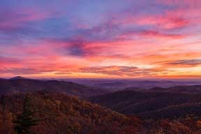 Buck Hollow sunrise, fall color report 10-31-14, resized for the web