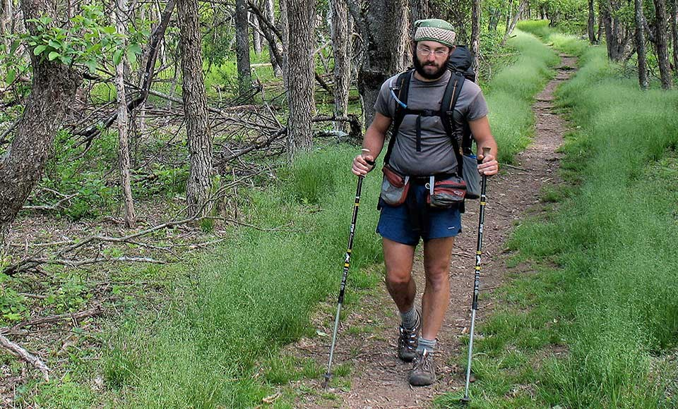 A hiker on the Appalachian Trail.