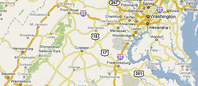 Map of Shenandoah in proximity to DC