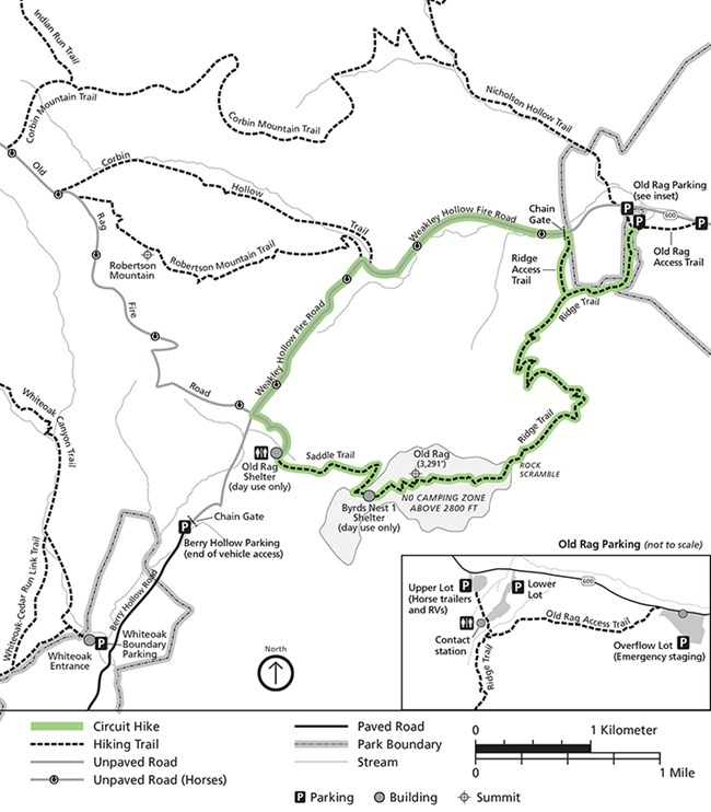 Map of new hiking and parking pattern at Old Rag Trailhead