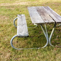 A picnic table on grass