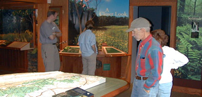"Visitors at Dickey Ridge Visitor Center learn about Shenandoah at the ""Experience Shenandoah"" exhibit."