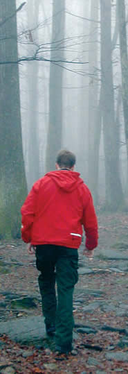 A hiker makes his way up Old Rag on a foggy day.