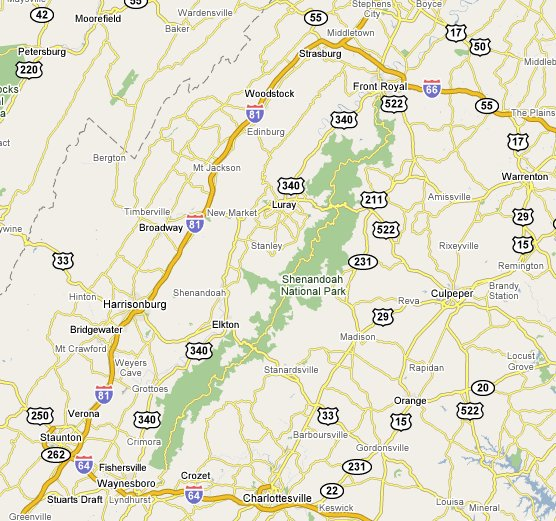 Map of the roads and towns around Shenandoah.