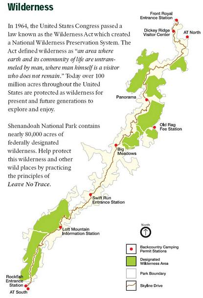 Shenandoah NP Wilderness Map