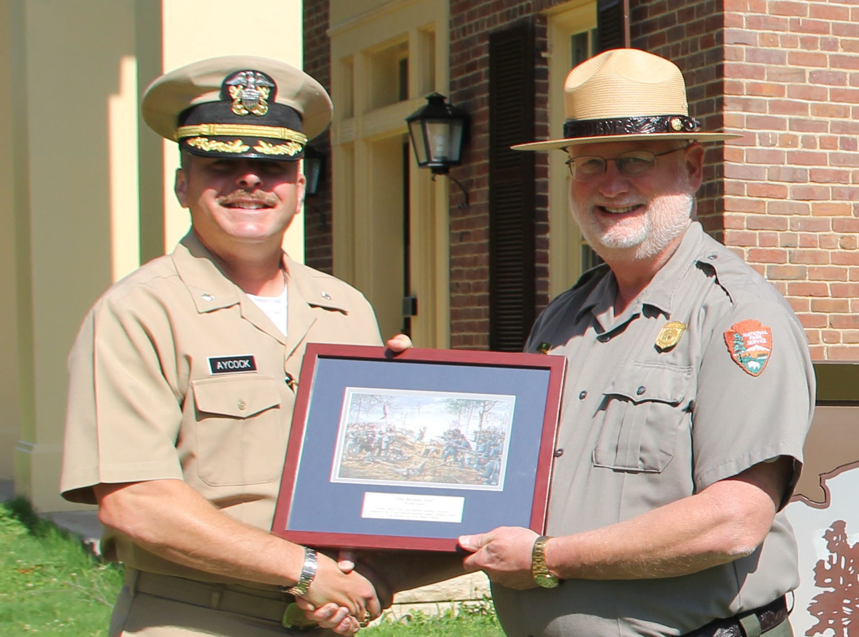 USS Shiloh Commander and Supt - NPS Photo