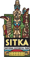 Sitka National Historical Park logo, featuring colored drawings of three totem poles and the Russian Bishop's House.