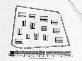 A drawing of the Tlingit fort.