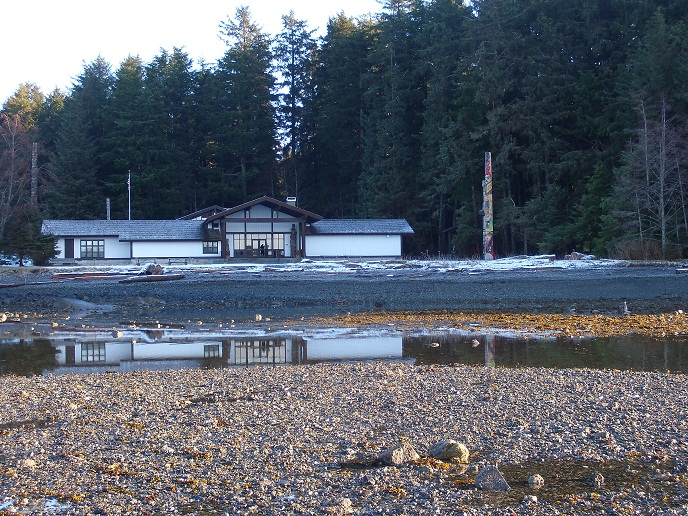 View of the Visitor Center in late afternoon from the tidelands.