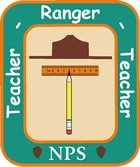Rectangular Teacher-Ranger-Teacher logo, featuring a drawing of a Park Ranger hat above a horizontal ruler and vertical pencil. The green border around these images says Teacher Ranger Teacher NPS in white letters.