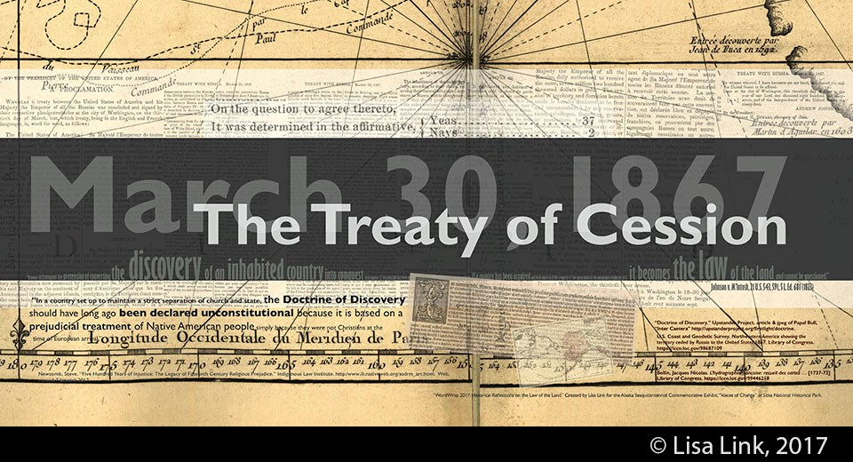 Yellow digital print with white and black text from the March 30, 1867, Treat of Cession.