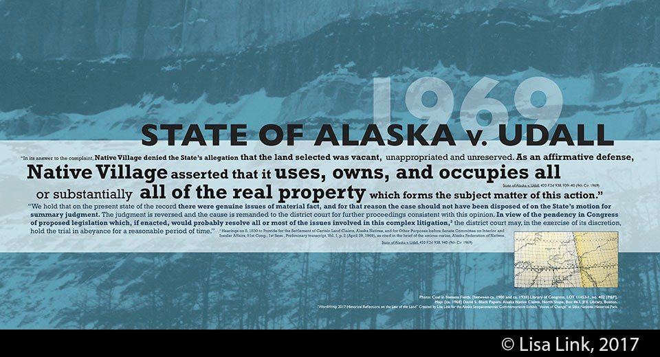 Blue digital print with black text from the 1969 court case, State of Alaska v. Udall.
