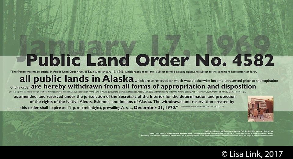 Green digital print with black text from the January 17, 1969, Public Land Order No. 4582.