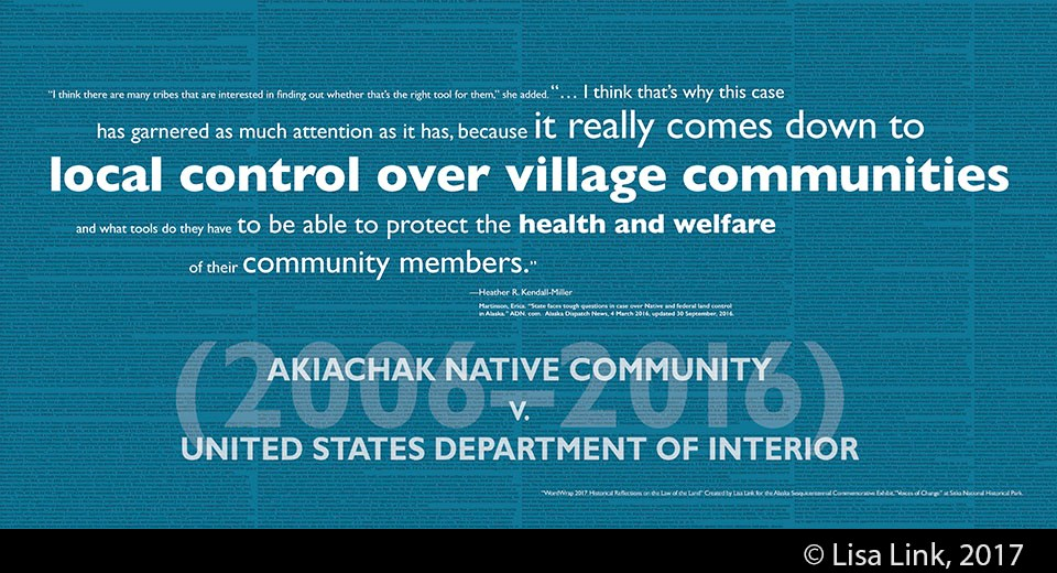 Blue digital print with white text from the 2006-2016 court case, Akiachak Native Community v. United States Dept. of Interior.