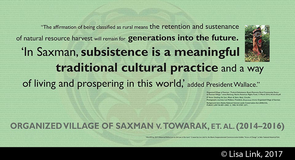 Green digital print with black text from the 2014-2016 court case, Organized Village of Saxman v. Towarak, et. al.