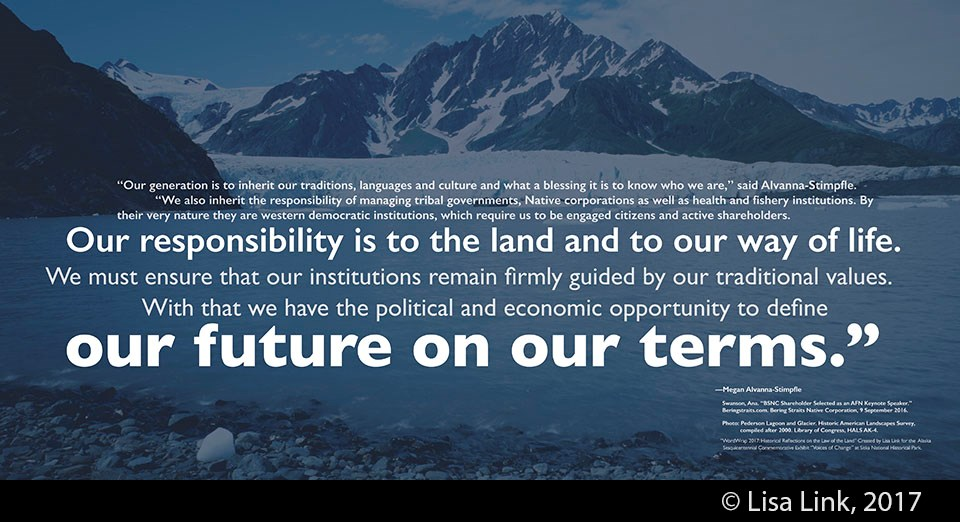 Blue digital print with white text from the 2016 Alaska Federation of Natives keynote speech by Megan Alvanna-Stimpfle.