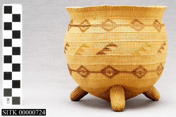 Close up photo of a historic woven basket in a musuem display case.