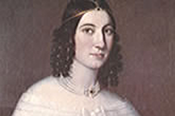 A close-up of the painted portrait of Margareth Etholen wearing a white lace dress with curled dark brown hair.