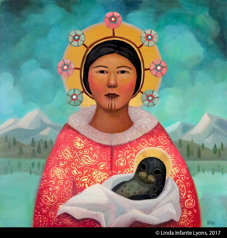 Painting of Alaska Native woman in pink and gold parka holding a baby seal. Both woman and seal have a gold halo like in orthodox religious icons.