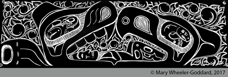 White formline design on a black background depicting wolf, eagle and man.