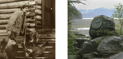 On the left, a sepia-tone photograph of E.W. Merrill standing outside a log home. On the right, a current day photograph of the Merrill Rock plaque with mountains in the background.