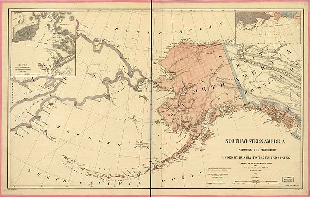 A map of the Alaskan territory at the time of its sale to the United States.