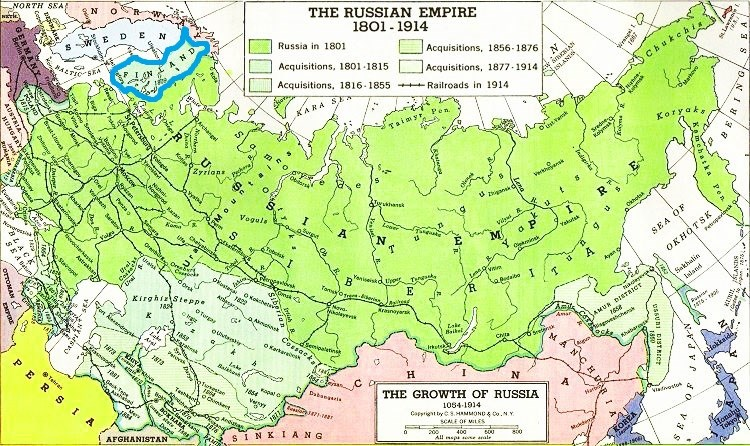 A map of the Russian Empire from 1801 to 1914 with the borders of Finland highlighted.
