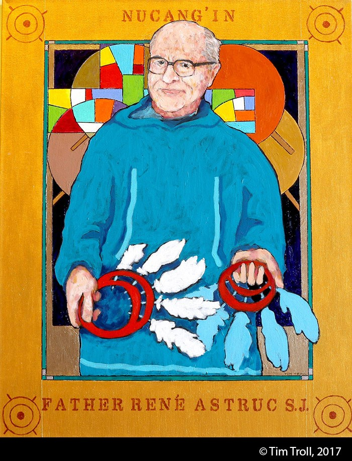 Stylized painting of an elderly white man with glasses wearing a blue parka and holding two feathered dance fans. Gold paint frames the image.
