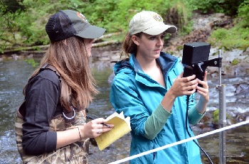 Two female park employees recording measurements from a monitoring device in a stream.