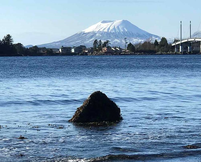 A view from the park of Mt Edgecumbe and a volcanic erratic in the sound.