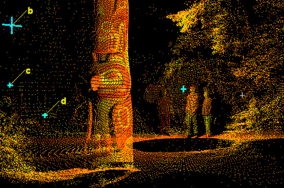 A digital rendering from a laser scanner of people, a totem pole, and forest, which appear as a series of closely spaced dots.