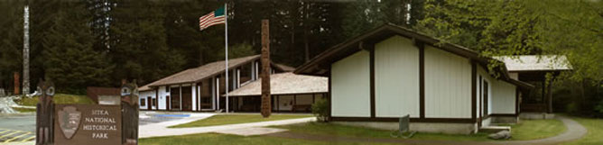 A panoramic view of the exterior of the Visitor Center.
