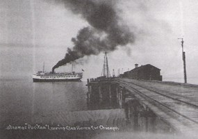 Steamer Puritan at Glen Haven Dock