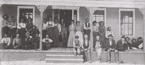 Workers on the porch of the Sleeping Bear Inn circa 1900