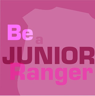 Pink square with the words, 'be a junior ranger'