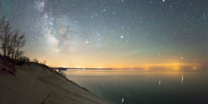 stars over Lake Michigan and sand dune