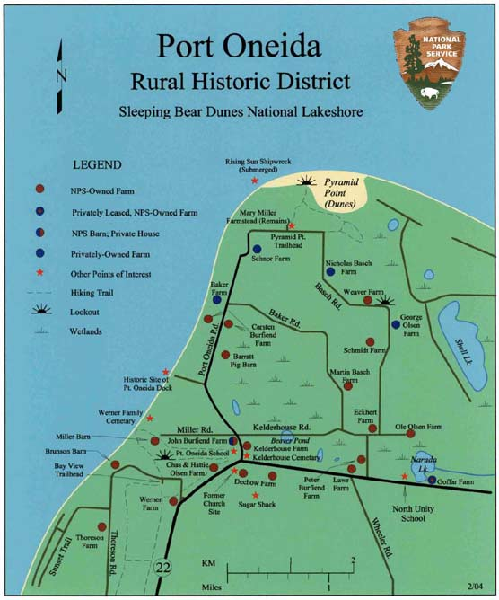 Map of Port Oneida Rural Historic District in Sleeping Bear Dunes National Lakeshore.