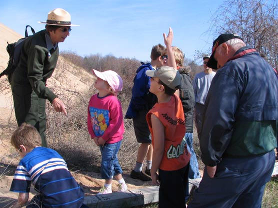 Park Ranger Joanne DeJonge encourages families to get out and explore the park on Saturdays at the Lakeshore.