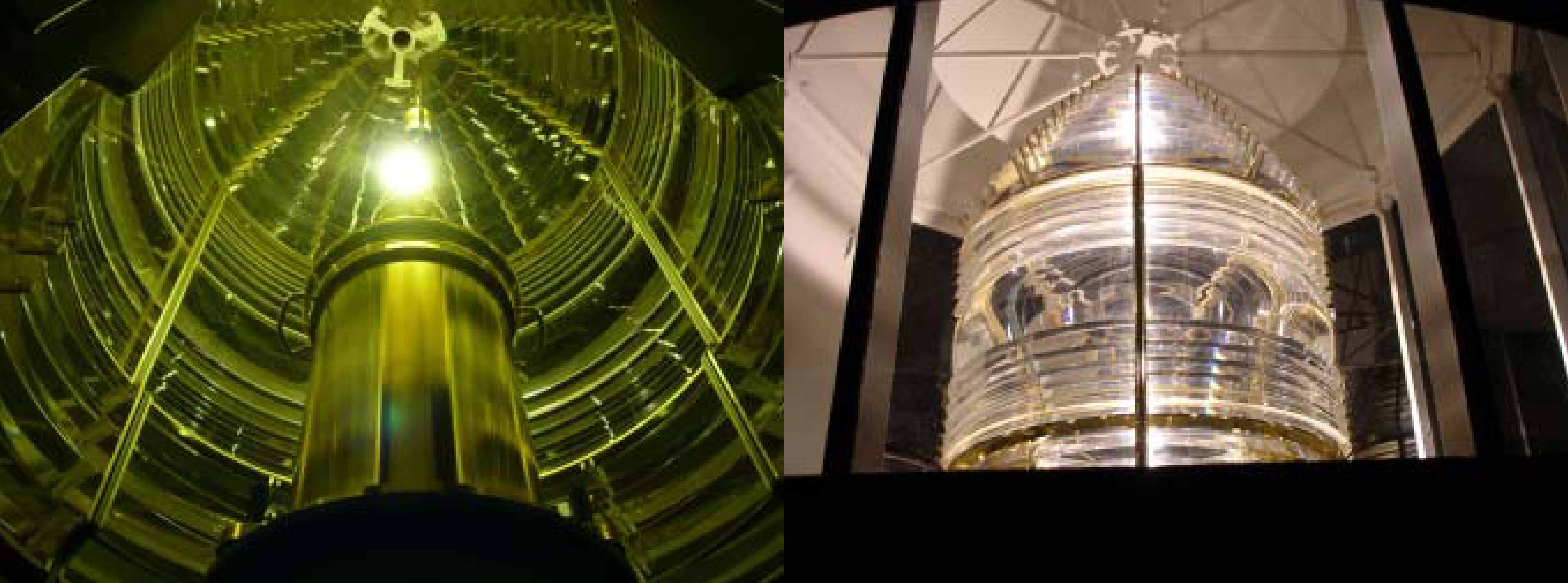 The light shines from the replica fresnel lens.