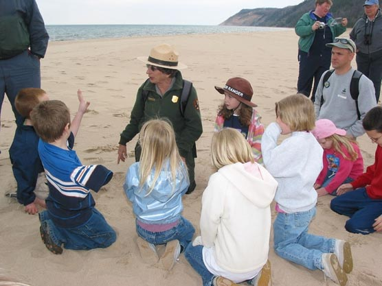 Junior Rangers-to-be explore the beach at Sleeping Bear Dunes National Lakeshore.