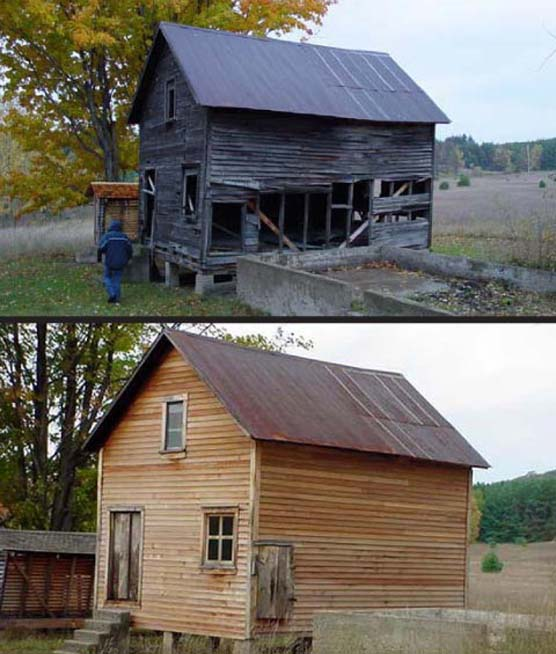 Martin Basch Farm granary before and after improvements.
